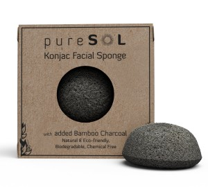 PureSOL Konjac Sponge - Activated Charcoal - Facial Sponge